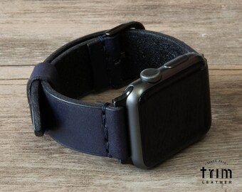 Apple Watch Leather Band Apple Watch Band 42mm 38mm Minimal in Navy Blue Color for Series 1, 2 and 3 [Handmade] [Custom Colors]