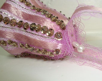 Vintage Purple Sequin Christmas Ornament, Bell Shape, Handcrafted 1970's Retro, Ribbon, Netting, Lightweight, Cottage Chic