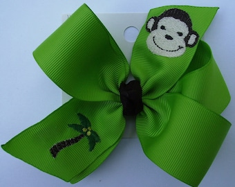 Embroidered Monkey, Hair Bow, Zoo Monogrammed, Palm Tree, Summer Vacation, Lime Green Clip, Animal Kingdom, Safari Africa, Birthday Party