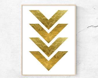 Gold Arrow Print, Gold Foil Art, Printable Modern Art, Minimalist Wall Art, Digital Wall Print, Modern Minimalist, arrow print, Gold Arrow