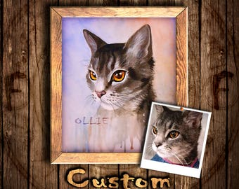 Custom art/painting from photo/custom pet portrait/custom drawing/custom cat portrait/custom cat art/custom cat painting/portrait to order