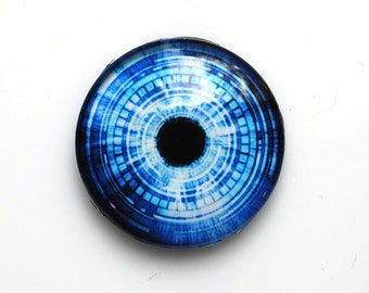 25mm handmade glass eye cabochon - blue cyber / futuristic eye - standard profile