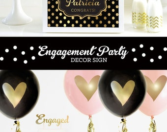 Engagement Party Decor Engagment Party Decorations Engagement Party Ideas Black & Gold Engagement Decorations (EB3058FCT) Printed SIGN ONLY