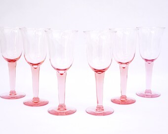 PRETTY IN PINK! Fabulous Set of 6 Vintage Pink Glass Wine / Water Stemmed Glasses