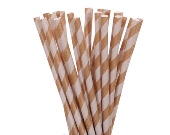 Paper Straws, Kraft Paper and White Striped Paper Straws, Rustic Wedding Straws, Vintage Paper Straws, Glamping Party Decor, Woodland Party