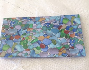 Seaglass CHECKBOOK COVER sea glass vinyl protector Custom Handmade Personalized gift for mermaids ocean beach lovers