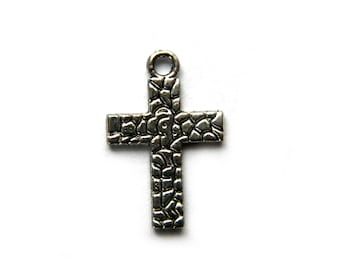 10 Silver Cross Charms Crucifix