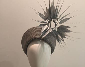 Hat for royal ascot, millinery, kate Middleton hat, fascinator, halo hat, church hat, spring racing, halo headpiece