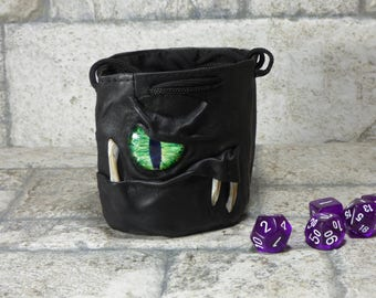 Dice Bag Marble Bag Fairy Pouch With Monster Face RPG LARP Drawstring Bag Rune Bag Magic The Gathering Gamer Gift Black Leather 828