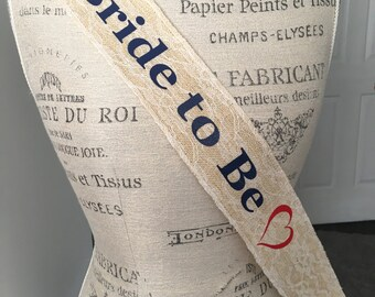 Bridal sash, Navy and Lace Bride to Be Sash, Burlap and Lace themed Wedding, Nautical themed Bride