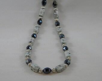 OOAK Sesame Jasper and Black Crystal Beaded Necklace