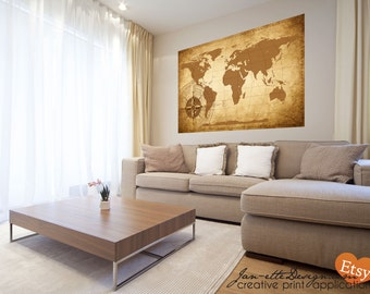 Large map decals etsy living room wall decorlarge world map wall decal gumiabroncs Images