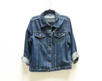 c06a7763b7 ... ShellysRelics  san francisco a42f3 9b631 Oversize Denim Jacket Vintage  Dark Blue Navy Vintage Denim Womens Jean Grunge ...