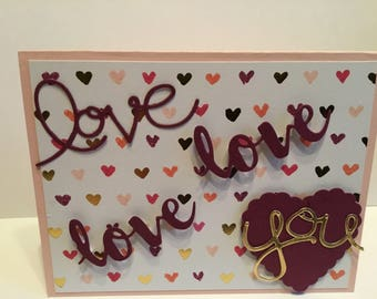 5 love valentines greeting cards with matching envelopes