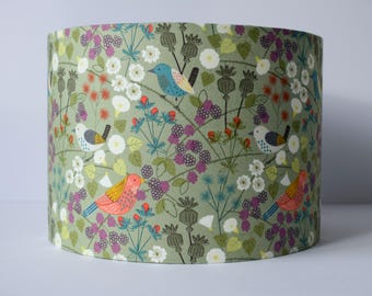 Hedgerow Lampshade, Bird Lampshade, Sage Green Lamp Shades, Woodland Home Decor, Country Home Decor, Wildlife Lampshade for Table Lamp