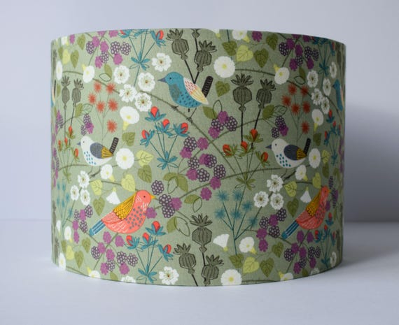 Hedgerow lampshade bird lampshade sage green lamp shades hedgerow lampshade bird lampshade sage green lamp shades woodland home decor country home decor wildlife lampshade for table lamp aloadofball Gallery