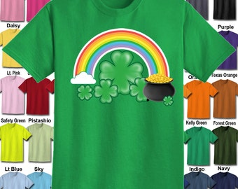 Shamrock Pot of Gold Rainbow T-Shirt - Adult Unisex - We carry sizes S - 5XL in 30 Colors!