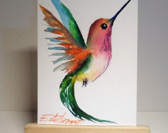 Aceo Original Watercolor Painting Hummingbird 74 Home Decor Fine Art