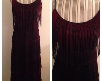 Gorgeous Flapper Inspired Burgundy and Black Fringed Dress