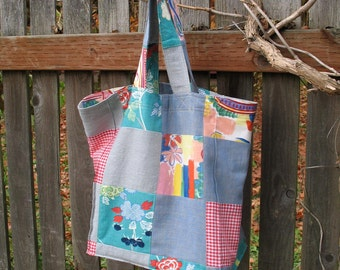 ON SALE! Handmade Patchwork Upcycled Shopping Bag Tote Bag