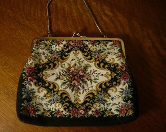 Vintage Black Tapestry Chain Handled Handbag Purse Made in Hong Kong