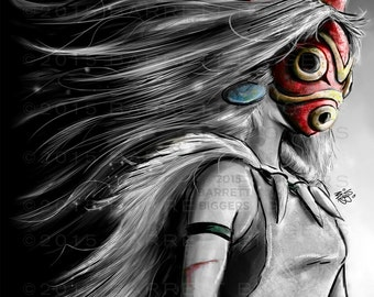 Princess Mononoke San Fury Digital Painting - signed museum quality giclée fine art print