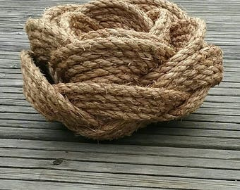 Rustic Rope Baskets, Set of Three Nesting Baskets, Stackable Kitchen Storage, Natural Manila, Handmade Celtic Knot, Wedding Gift.
