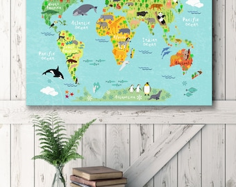 Animal world map etsy baby room map baby world map nursery animal world map for kids room gumiabroncs Gallery