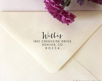 Return Address Stamp, Custom Address Stamp, Self-Inking Stamp, Calligraphy Stamp, Wooden Stamp, Rubber Stamp, Custom Stamp for Invitations