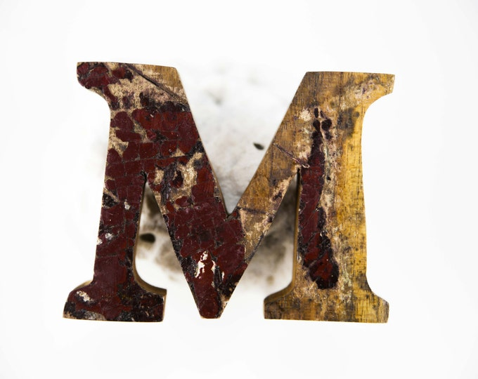 "Beach Decor Wooden LETTER ""M"" Vintage Style Nautical by SEASTYLE"