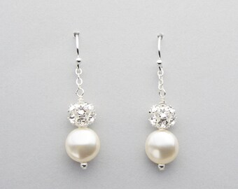 Coin Pearl Dangle Earrings, Pearl Bridal Jewelry, Swarovski Crystal Coin Pearls and Rhinestone Balls, Nickel Free Sterling Silver Drops
