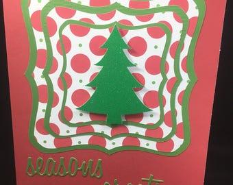 Glitter Tree Christmas Seasonings Greetings Card  - Blank inside