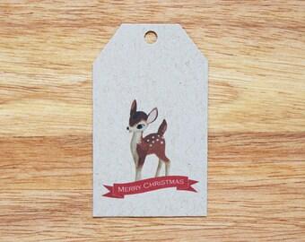 Fawn Holiday Christmas Gift Tags - Set of 6