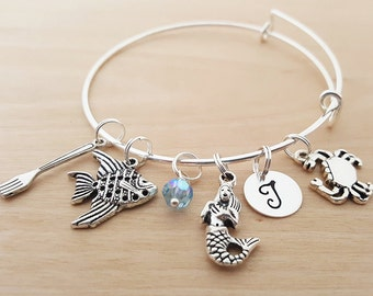 Little Mermaid Bracelet - Personalized Bracelet - Adjustable Bangle - Birthstone Bracelet - Personalized Jewelry - Gift for her