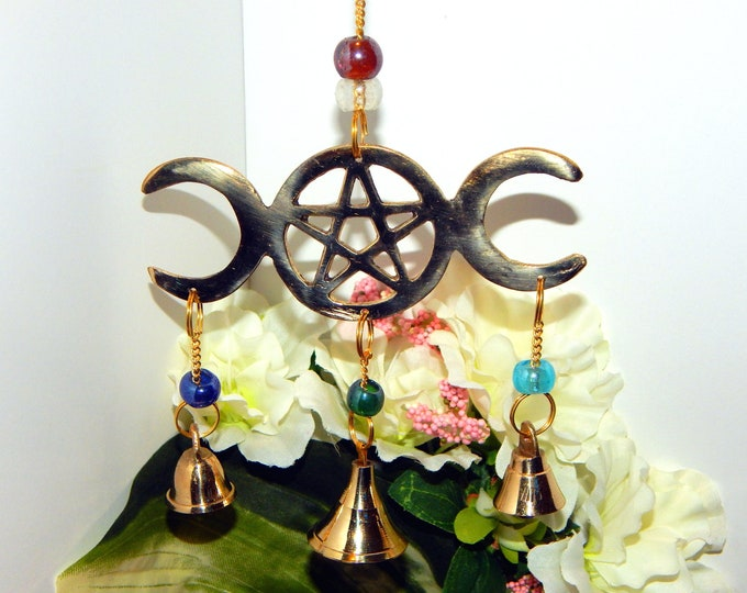 ALTAR DECOR Chime Wiccan Pagan Pentacle Triple Moon Goddess - Indoor Outdoor Home decor wind chime bells