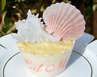 Edible Seashells x 15 Mix Sea Shells Wafer Rice Paper Beach Wedding Cake Decorations Cupcake Cookie Toppers Seaside Ocean Summer Nautical