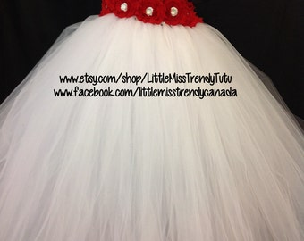 One Shoulder White Christmas Tutu Dress with Red Floweres, White Tutu Dress,Christmas Tutu Dress, Christmas Party Dress, Christmas Dress
