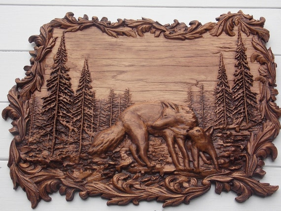 Wolf carving animal wood wall art hanging