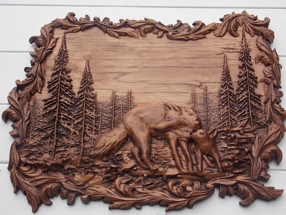Wolf Carving Animal Wood Carving Wolf Wall Art Wall Hanging