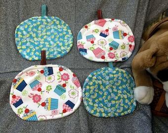 Table Protector Pot Pads Pillows, Cupcakes N Bugs Blue Prints