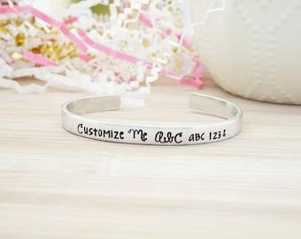 Custom Hand Stamped Cuff - Personalized Bracelet - Non Tarnish -  Hypoallergenic - Aluminum - Hand Stamped Silver Cuff Bracelet