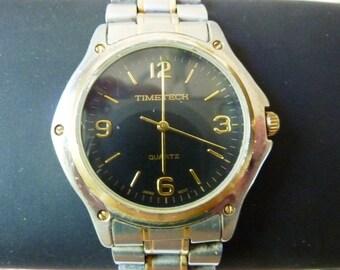1980's Mens Quartz Watch Timetech Round Two Tone case  and Bracelet