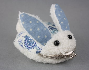 Coin Purse - Rabbit Bunny with Metal Frame (Fuzzy Bunny Purse, iPhone Case)