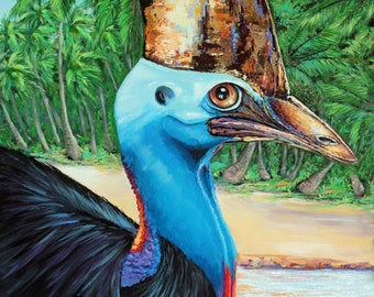cassowary painting, cassowary print, cassowary art, wildlife print, australian art, tropical painting, tropical art, beach painting, birds
