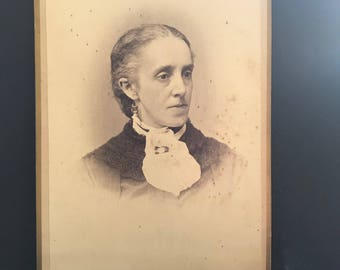 Antique Photo- black and white-cabinet card-Mid-late 1800's-woman-vintage-craft-collectable-rochester ny