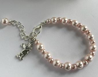 Bear Bracelet, Pink Baby Bracelet, Bear Charm Bracelet, Silver Bear Bracelet, Baby Charm Bracelet, Teddy Charm Bracelet, Teddy Bear Gift