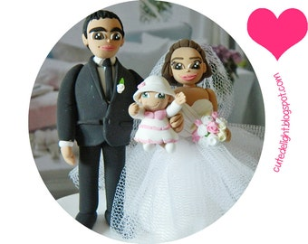 Wedding Cake Topper - Family cake topper, CUSTOM cake topper, FUNNY cake topper, Wedding figurines, wedding topper, baby cake topper
