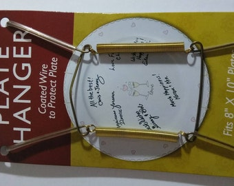 """2 Single Plate Hangers NEW Brass Finish Fits 8"""" to 10"""" Dish Display Holder"""