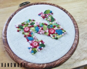 Monogram 'N' Hand Embroidery In 5 Inch Hoop | READY TO SHIP!