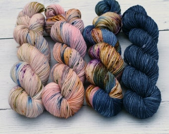 Comfort Fade Cardi Set {Dyed to Order} Semi Solid - Hand Dyed Yarn - Variegated - Speckled - DK - Blue - Pink - Bronze - Free Tote Bag